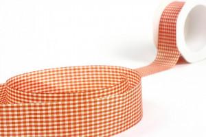 Banda textila, oranj, in carouri, 25mm x 10m