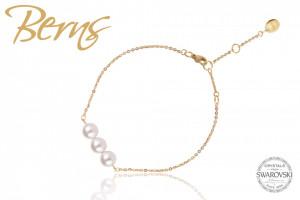 """Bratara cristale Swarovski """"WENDY"""", cu perle, suflata cu aur 14k"""