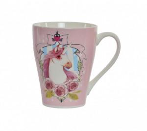 Cana roz de portelan, model Unicorn, 360 ml