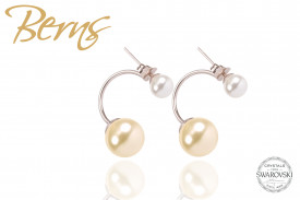 Cercei, 2 perle Swarovski, alb/crem, argintiu