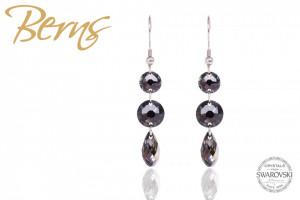 Cercei, 3 cristale Swarovski, negre