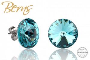 Cercei, cristale Swarovski, albastru, diametru 14mm