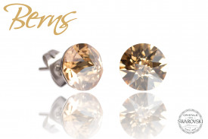 Cercei, cristale Swarovski, auriu, diametru 8mm