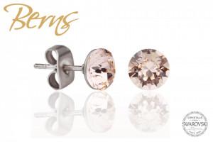 Cercei, cristale Swarovski, crem, diametru 6mm