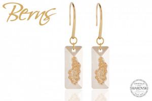 Cercei, cristale Swarovski, forma dreptunghiulara, auriu/alb, suflati cu aur 14k