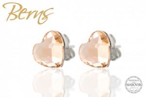 Cercei, cristale Swarovski, forma inima, crem, 10mm