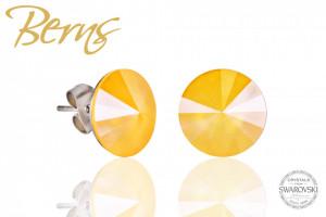 Cercei, cristale Swarovski, galben, diametru 12 mm