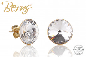 Cercei, cristale Swarovski, Gold, suflati cu aur 14k, diametru 12mm