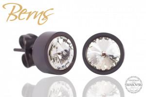Cercei, cristale Swarovski, margine gri