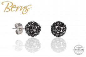 Cercei, cristale Swarovski, negru, forma rotunda, 6mm