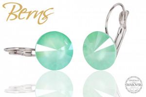 Cercei, cristale Swarovski, verde, diametru 12 mm