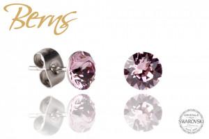 Cercei, cristale Swarovski, violet, diametru 6mm
