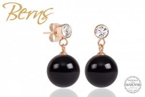 Cercei, perla + cristale Swarovski, negru/rosegold, 12mm