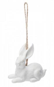 Decoratiune cu agatatoare iepuras, alb, 8x2.5x3 cm