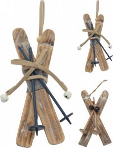 Decoratiune schiuri de lemn, de agatat, natur, 16 cm