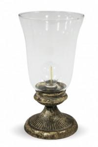Felinar de sticla cu LED, baza metalica, 27.5 cm