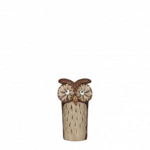 Figurina ceramica bufnita, maro, 7x6.5x13.5cm
