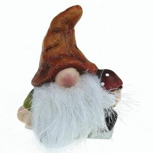 Figurina ceramica, pitic cu barba pufoasa, 6x7 cm