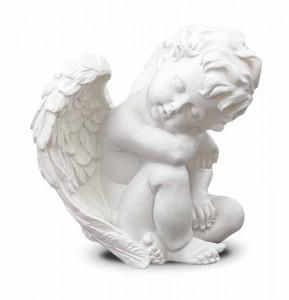 Figurina ingeras, polirasina, alb, 10x9x6 cm