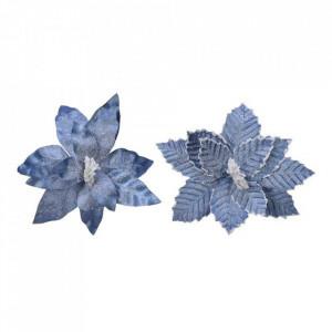 Floare artificiala, Craciunita, albastru, 34 cm