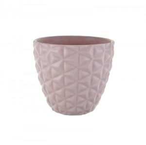 Ghiveci ceramica, cu model, roz, 10x10.5 cm