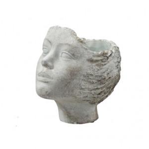 Ghiveci de piatra, cap femeie, 19x15x19 cm