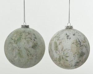Glob de sticla alb/verde, model Nature, 10 cm