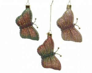 Glob de sticla, fluture, sclipici, 6x10 cm