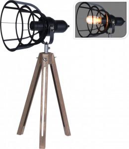 Lampa de masa metalica, cu picioare de lemn, 17x50 cm
