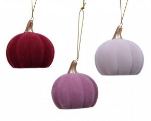 Ornament cu agatatoare dovleac, ceramica, roz/visiniu, 7 cm