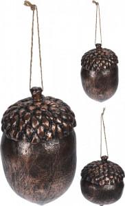 Ornament cu agatatoare, ghinda cupru, 12 cm