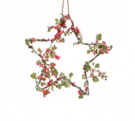 Ornament stea decorativa, rosu/verde, 15x15 cm