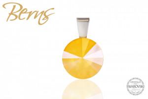 Pandantiv, cristal Swarovski, galben, diametru 12 mm