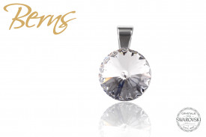 Pandantiv, cristal Swarovski, gri, diametru 12 mm