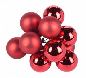 Set 10 globuri tija sarma, culoare rosie, 2 cm