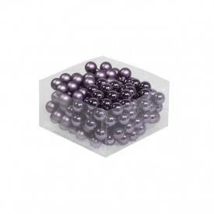 Set 144 globuri sticla lila, mix mat/lucios, 2.5 cm