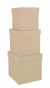 Set 3 cutii patrate, natur, 16x16 cm