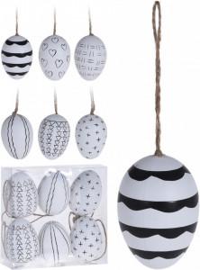 Set 6 oua decorative, cu agatatoare, 6 cm