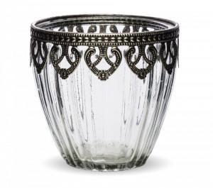 Suport de lumanare sticla, margine metalica, 10x10 cm