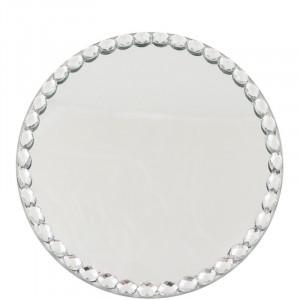 Suport lumanare oglinda, cu margele, 19.5 cm