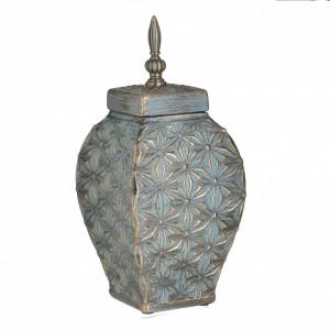 Vaza ceramica cu capac, auriu/verde antichizat, 14x33 cm