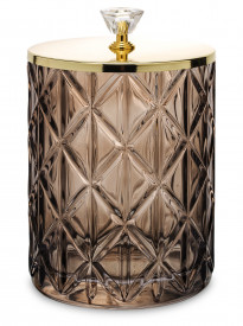 Bol de sticla, capac metalic auriu, 15x10.5 cm