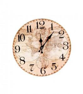 Ceas de perete, MDF, cu model harta, diametru 34 cm