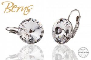 Cercei, cristale Swarovski, cu agatatoare, diametru 16mm