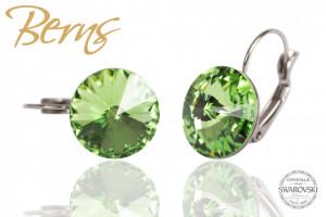 Cercei, cristale Swarovski, cu agatatoare, verde, diametru 14mm