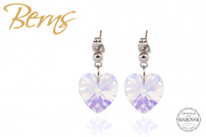 Cercei, cristale Swarovski, forma inima