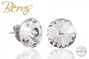 Cercei, cristale Swarovski, forma rotunda, diametru 12mm