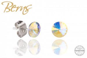 Cercei, cristale Swarovski, galben, diametru 6 mm
