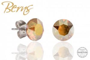 Cercei, cristale Swarovski, galben, diametru 8mm