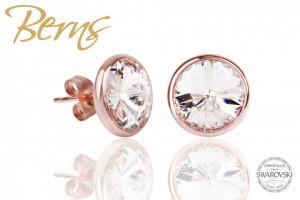Cercei, cristale Swarovski, rosegold, diametru 10 mm